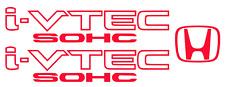 Honda I-Vtec SOHC Decal Stickers Set of 3  Civic Accord Prelude CRX SI RED Lip