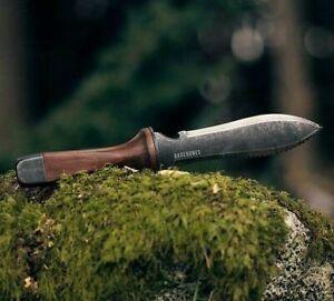 "Barebones Hori Hori Garden Fixed Knife 7"" 4Cr13MoV Steel Blade Walnut Handle"