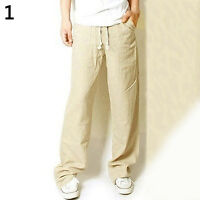 Men's Casual Loose Drawstring Waist Solid Linen Trousers Beach Pants Fashion