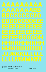 K4 G Decals Yellow 1/2 Inch Bold Gothic Letter Number Alphabet Set
