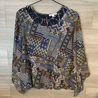 John Paul Richard Women's Sz S Bell Sleeve Blouse Boho Print