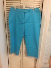 DAVID PAUL NY Blue Turquoise STRETCH Cropped Beaded Fringe Capri Pant 14P