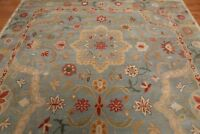 Antique Hand Made Agra Blue Floral Traditional Parsian Oriental Wool Area Rug