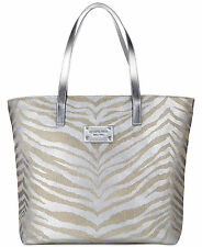 Michael Kors tote bag ZEBRA ANIMAL PRINT silver shopper handbag purse METALLIC