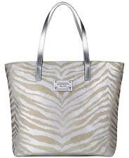 Michael Kors tote bag ZEBRA ANIMAL PRINT silver shopper handbag purse METALLIC