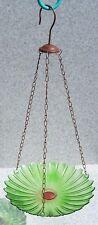 """Bird Feeder Bath Green Glass New hanging 9 3/4"""" diameter"""