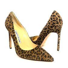 MANOLO BLAHNIK Womens BB Leopard Suede Point Toe Pump Heels 36.5 (MSRP $695)