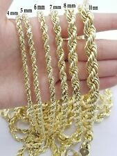 """Solid REAL 10kt Gold Rope Chain 4mm-8mm 18""""-30"""" Necklace Diamond Cut Men Women"""