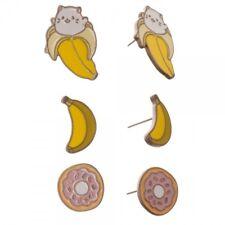 Cartoon Cat Who Lives in Banana Cute! Set of 3 Bananya Stud Earrings Japanese