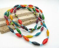 """Vintage Multi-Color Paper Blue Glass Bead Extra Long 52"""" Rope Necklace UU30"""