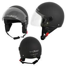 Open Face Jet Helmet Moped Motorbike Scooter Antiscratch Visor Matt Black M
