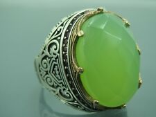 Turkish Handmade Jewelry 925 Sterling Silver Chalcedony Stone Men Ring Sz 9