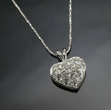White Gold gp 1.0ct Round Cut lab Diamond Solid Pave Heart Love Pendant Necklace