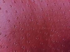 """FAUX LEATHER VINYL FABRIC Ostrich Burgundy Upholstery 54"""" Wide - By the Yard"""