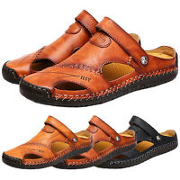 Summer Mens Leather Safety Closed Toe Outdoors Sandals Casual Sport Beach Shoes