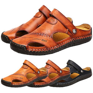 Men's Faux Leather Sandals Beach Shoes Fisherman Summer Slip On Slippers Outdoor