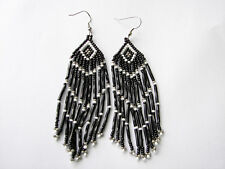 "Seed  Bead Earrings NEW Grey/white /black  3 1/2 "" handcrafted Native American"