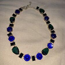J Crew Necklace Statement Emerald Green Blue Glass