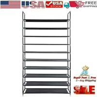 10 Tier 50 Pair Shoe Tower Rack Large Storage Space Organizer Free Standing