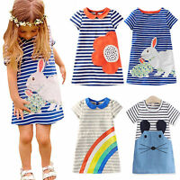 Baby Kids Girl Summer Tunic Striped Dress Casual Party Sundress Clothes 2-7Years