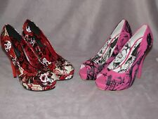 "Lot of 2 WM's Size 9 Skull & Graphic 5.5"" Pumps Red Pink Black Just Fabulous"