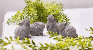 French Country Decor Resin Rabbits - Set of 4 Bunny Figurines - Rustic Farmhouse