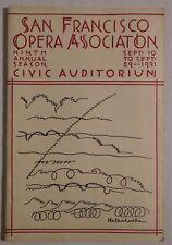 Sf Opera Association rare vintage program Sept 10/Sept 29 1931 merola