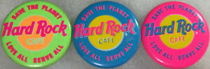 """Hard Rock Cafe NEON BUTTON PIN Set of 3 """"Save The Planet"""" & """"Love All Serve All"""""""