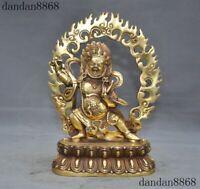 Tibetan Brass Buddhism Mahakala Wrathful Deity Devil Skull Head Statue Home