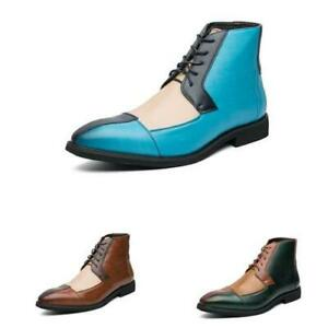 Brogue Men Work Ankle Boots Shoes Business Pointy Toe Office Lace Up Formal Boot