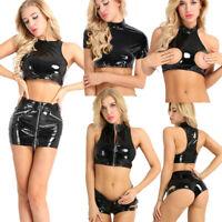 Womens Wetlook Faux Leather Crop Top Lady Zipper Tank Top Clubwear Shirt Costume