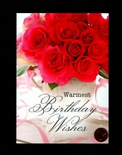 Birthday Teapot Red Roses Leaves Flowers - Greeting Card New W/ Tracking