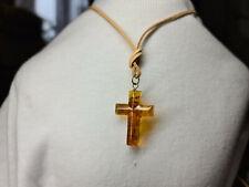 Schöner Kreuz Anhänger Baltischen Bernstein Kettenanhänger Honigfarbe 925 Silber