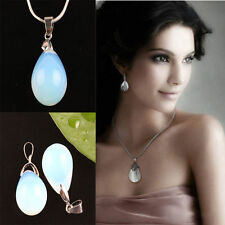 2Pc Opal/Opalite Teardrop Crystal Gemstone Stone Bead Pendant For Necklace