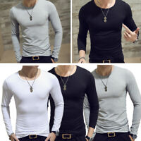Men Slim Fit Long Sleeve T-shirt Round Neck Shirt Tops Solid Casual Basic Tee