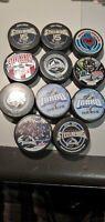 Idaho Steelheads Lot of 11 ECHL Hockey Pucks Pepsi Cola InGlas Co Dallas Stars