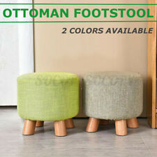 Round Footstool Foot Rest Stool Pouffe Wooden Padded Seat Chair Stools USA