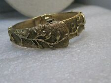 """Vintage Gold Tone Repousse Watch Clamper Bracelet, Sheffield Watch, 6"""", Hinged"""