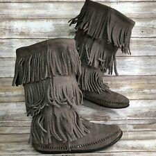 Minnetonka 7M Gray Suede Fringed Mid Calf Boots Festival Boho Womens