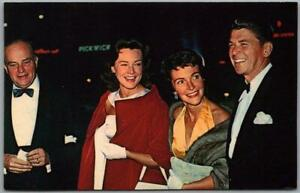 1980s President RONALD REAGAN Postcard w/ Nancy / Edgar Bergen & Wife Unused