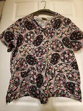 "Tafford Size M Scrub Top - Pink & Black Floral Print V-neck-measures 22"" across"