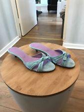 Boden Women's Sky Blue Suede Kitten Heel Mules Size EU 39 UK 6