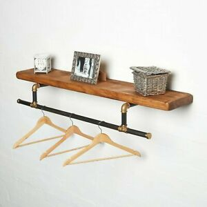 Gold and Black Clothes Rail & Solid Wood Shelf - Urban, Vintage, Steampunk