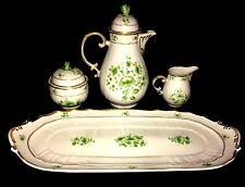 HOLLAHAZA Hand-Painted Serving Plate,Coffee Pot,Creamer & Sugar Bowl.Hungary VTG