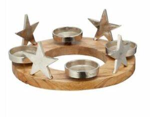 Adventskranz Kranz mit Stern Kerzenteller Aluminium Mangoholz 4 Kerzenhalter