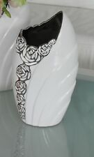 Wunderschöne Dekovase Blumenvase mit Rosenmuster aus Keramik weiß/silber Höhe 27