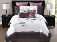 8 Piece Maliah Purple/Charcoal/White Comforter Set Queen