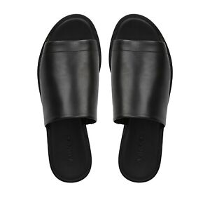 NIB Vince Saskia-B Leather Platform Slides Sandal, Black Size 8.5 $250