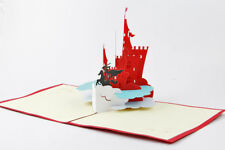 3D Pop Up Greeting Card Handmade Knight Castle Birthday Valentine FIGHT Kirigami