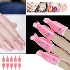 10pcs Stylish Nail Art Soak Off Clip Cap UV Gel Polish Remover Wrap Tool Pink MT